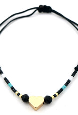 With love Glass tube with bracelet - Heart black