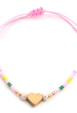 With love Glass tube with bracelet - Heart pink