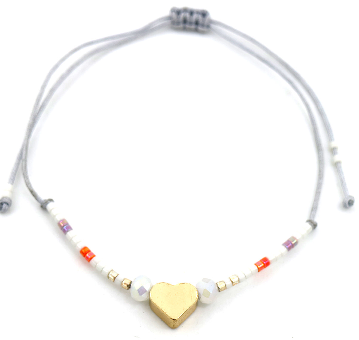 With love Glass tube with bracelet - Heart grey