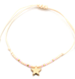 With love Glass tube with bracelet - Star beige