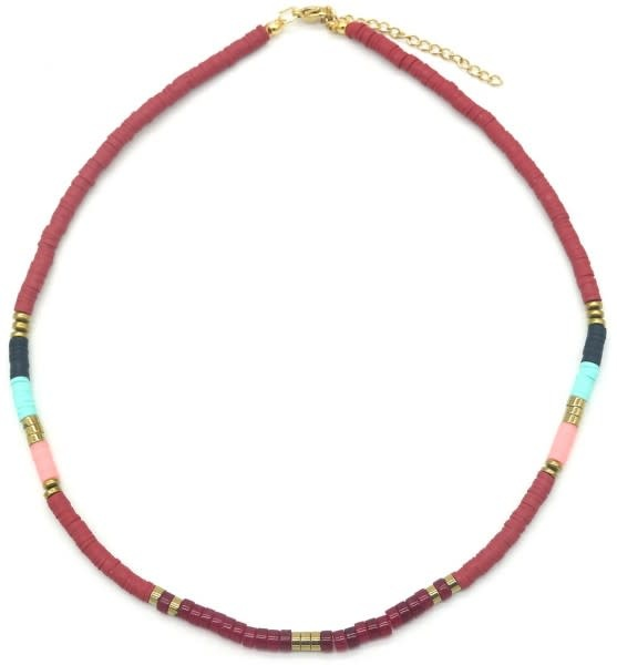 With love Surf necklace with stones bordeaux - multi