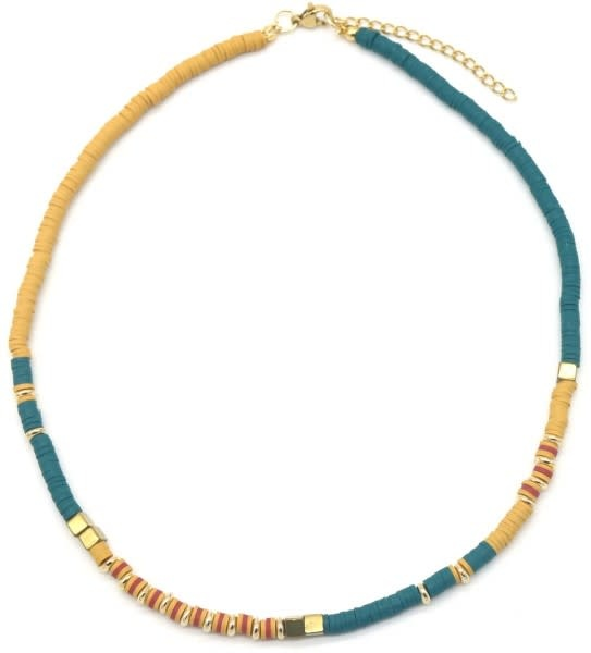 With love Surf necklace with metal beads Yellow - blue