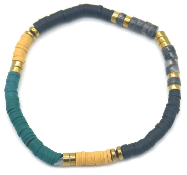 With love Surf bracelet with stones Blue - yellow - black
