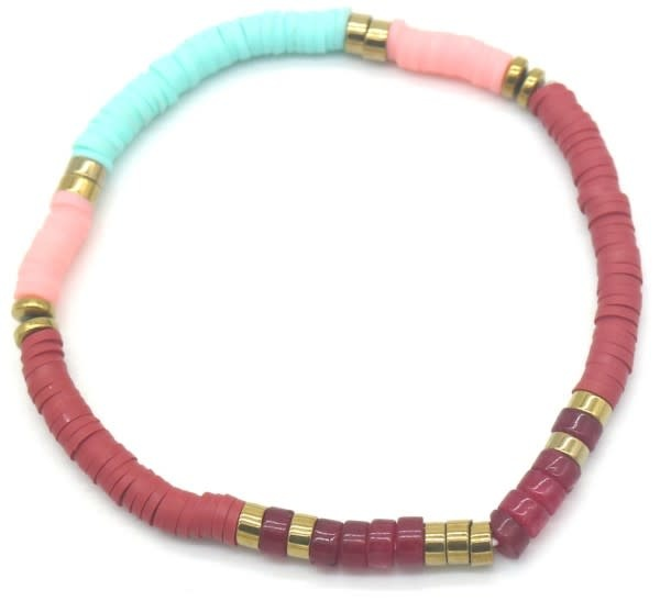 With love Surf bracelet with stones Blue - pink - red