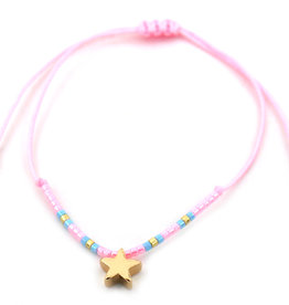 With love Glass tube with bracelet - Star pink