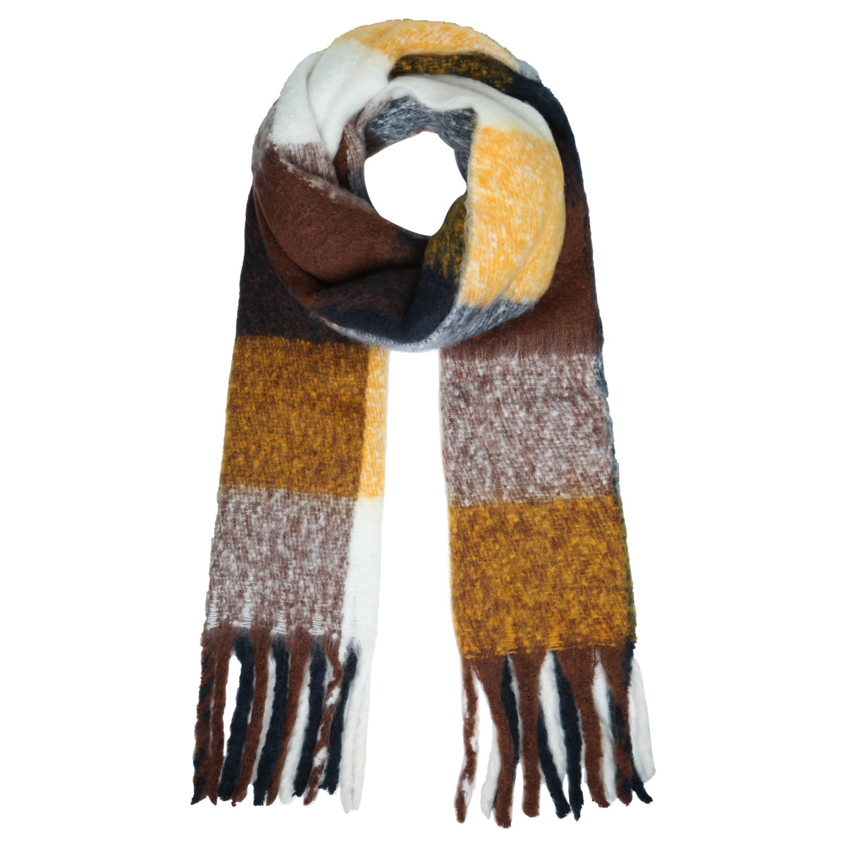 With love Scarf colored blocks brown - yellow