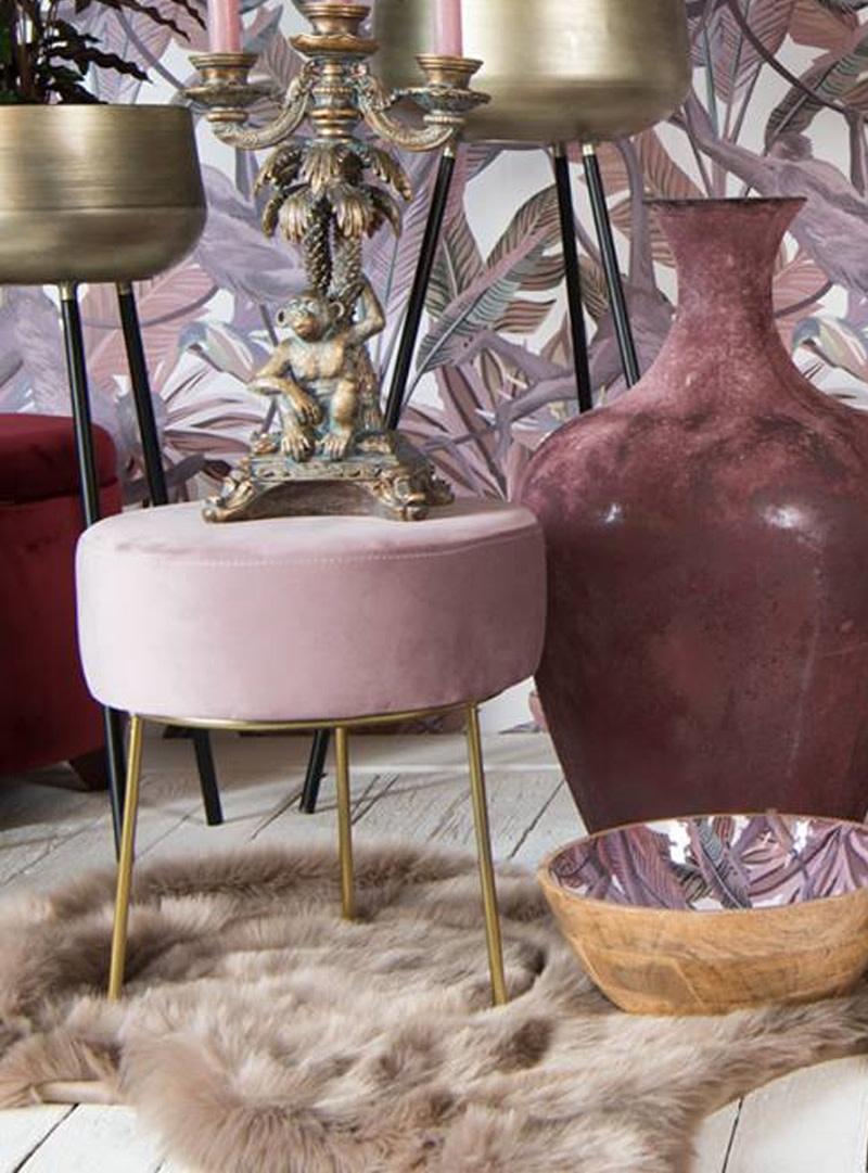 Kersten Pouf velvet pink 35 x 35 x 40 cm