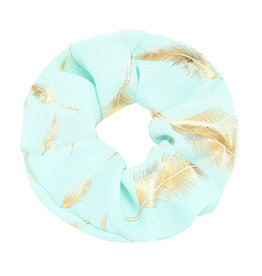 With love Scrunchie golden feather - mint green