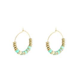 With love Earrings beaded hoops - green