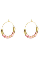 With love Earrings beaded hoops - pink