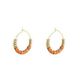 With love Earrings beaded hoops - orange