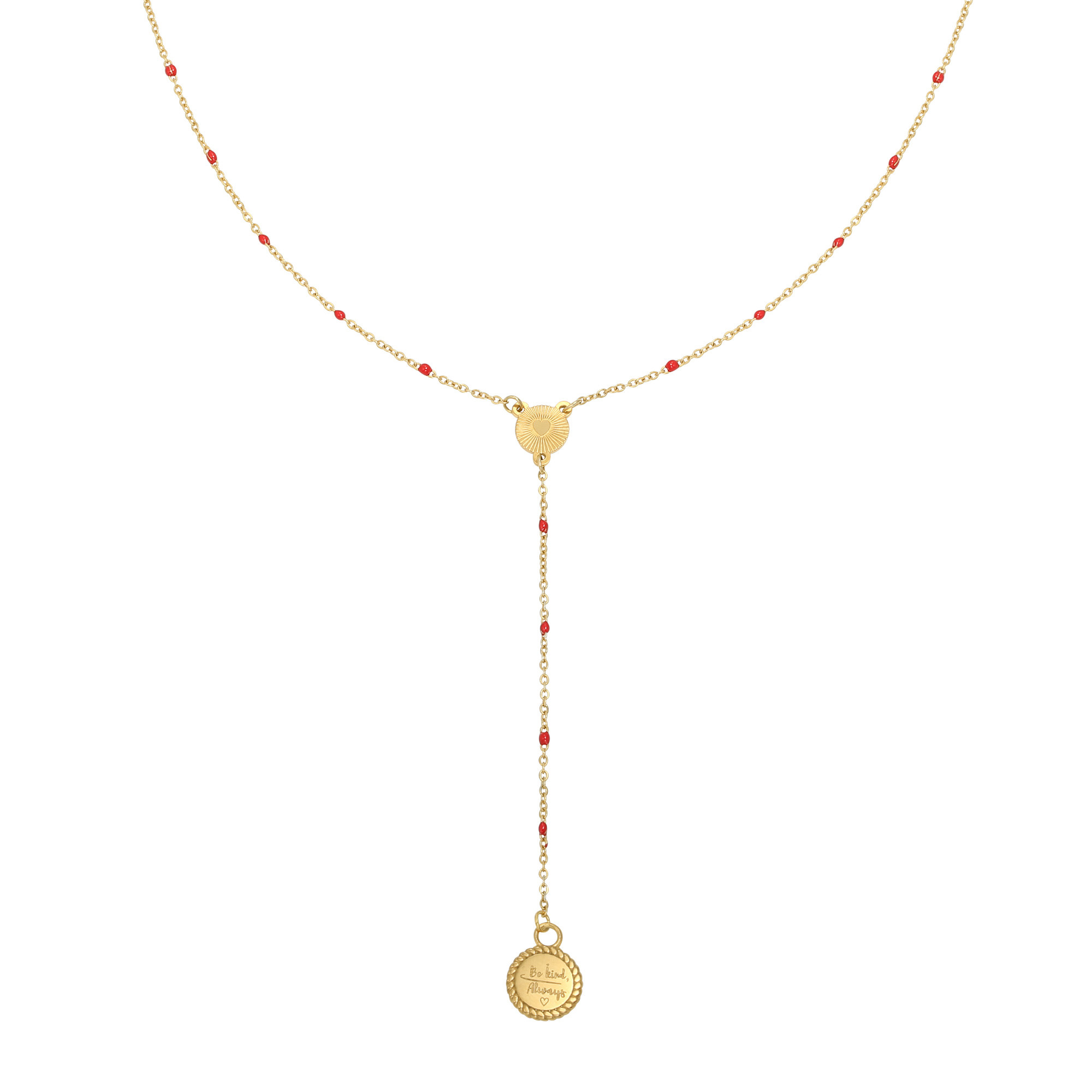With love Necklace Be kind, always - gold red