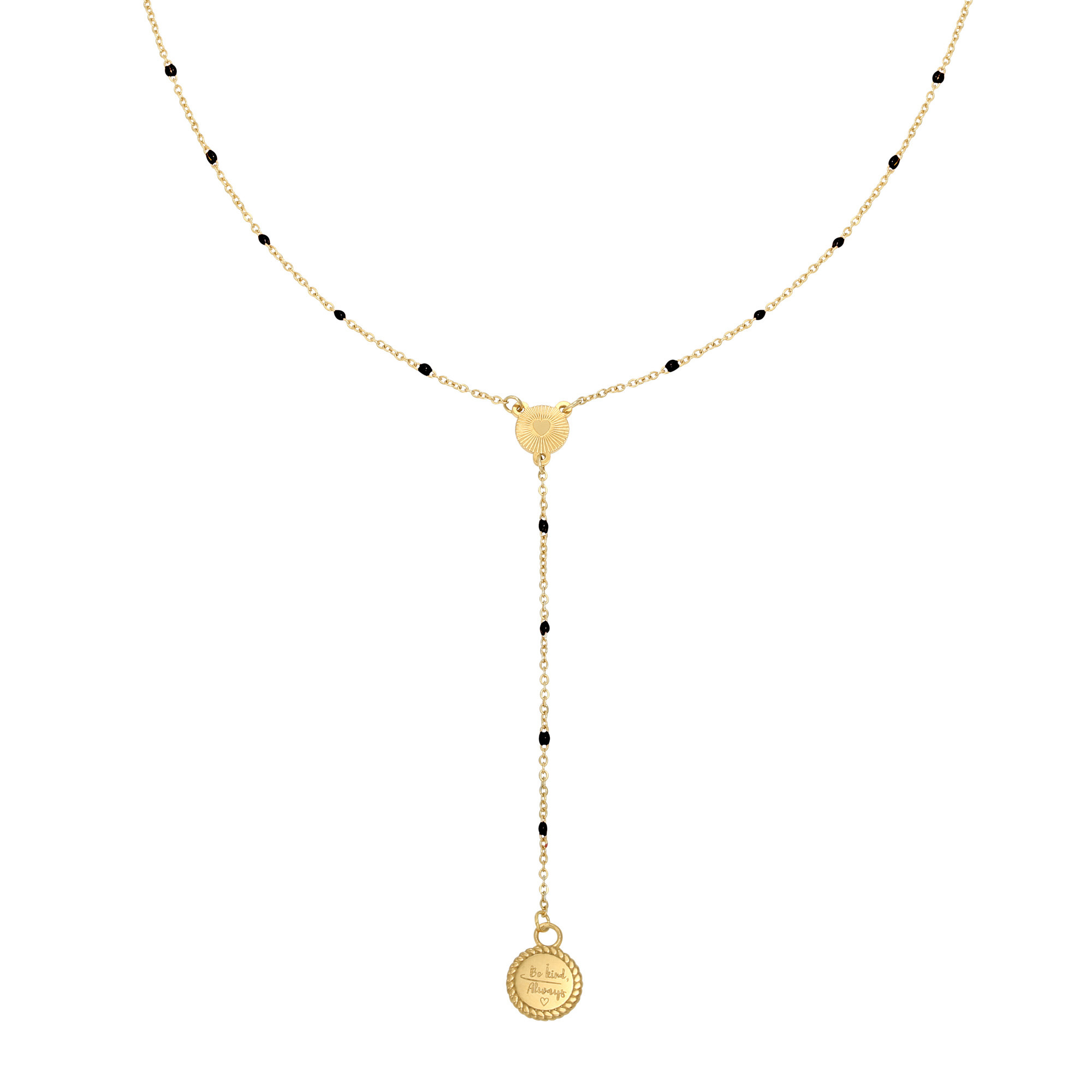 With love Necklace Be kind, always - gold black