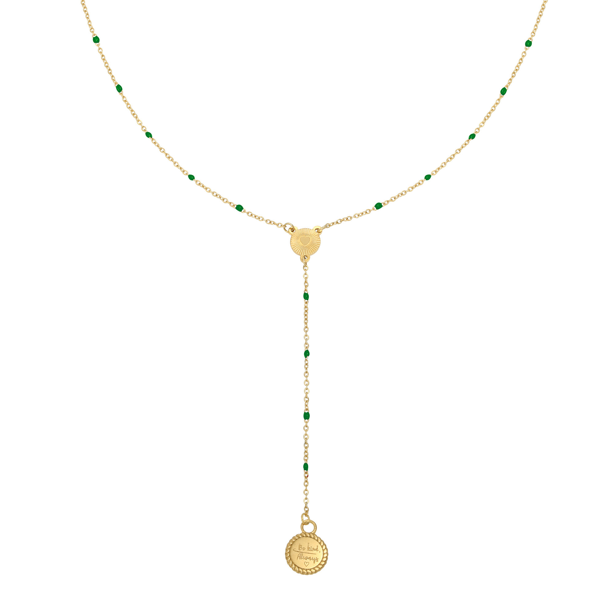 With love Necklace Be kind, always - gold green