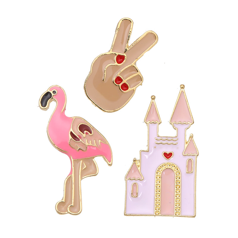 With love Set of 3 pins flamingo