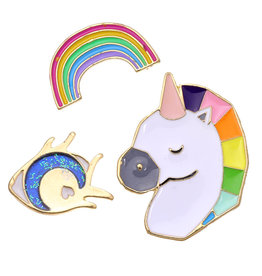 With love Set of 3 pins unicorn