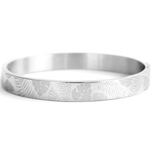 With love With love bangle silver - tropical leaves