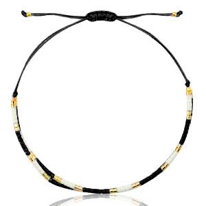 With love Bracelet miyuki pearls black - white