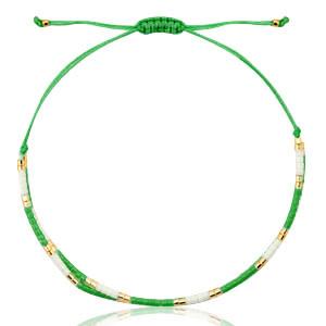 With love Bracelet miyuki pearls green - white