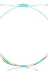 With love Bracelet miyuki pearls turquoise - white