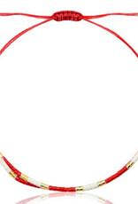 With love Bracelet miyuki pearls red - white