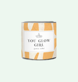 The Gift Label Candle tin 310 gr. 'You glow girl' fresh cotton