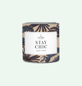 The Gift Label Candle tin 310 gr. 'Stay chic' fresh cotton