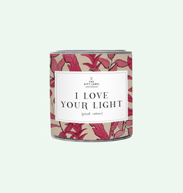 The Gift Label Candle tin 310 gr. - I love your light - fresh cotton