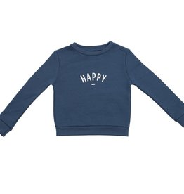 Bob & Blossom Denim blue sweater 'Happy'