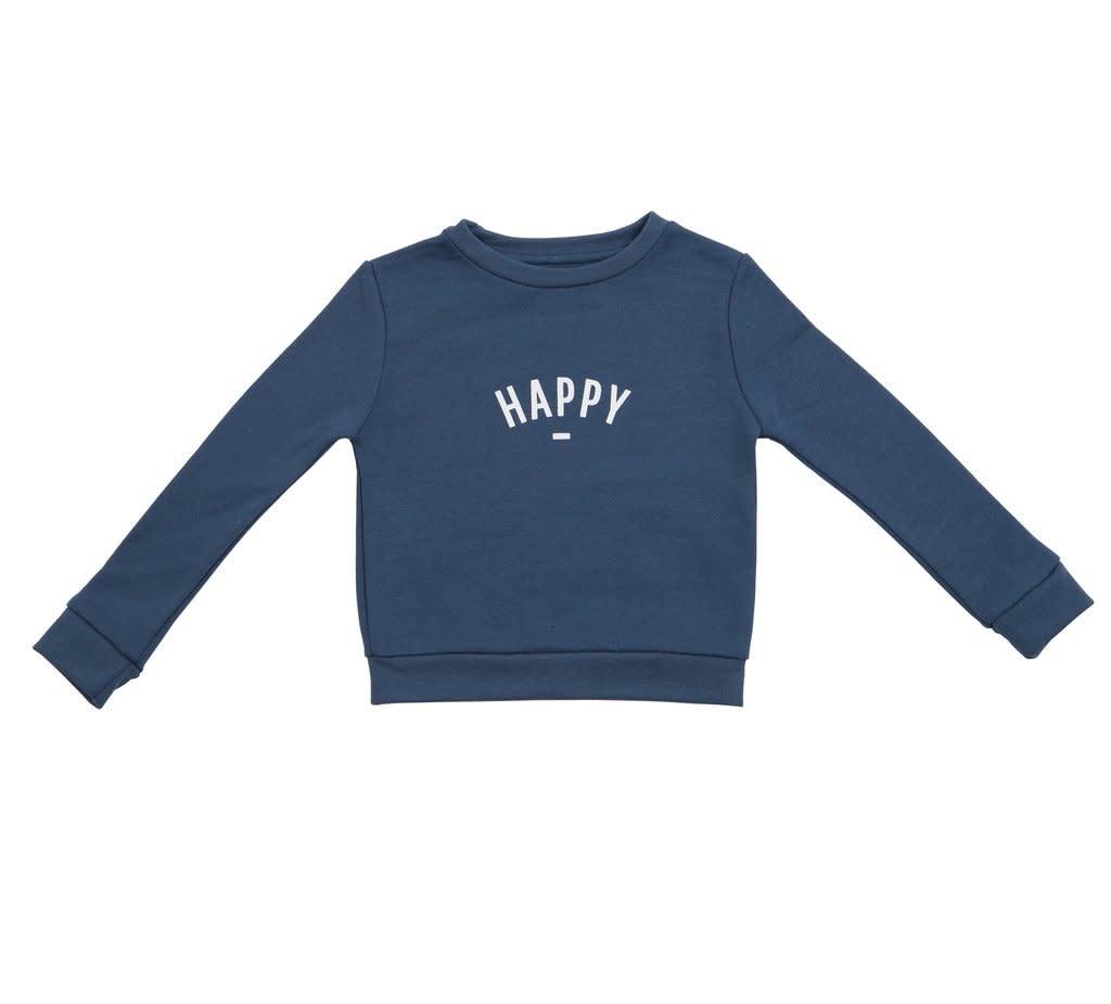 Bob & Blossom Denim blue sweater 'Happy'