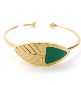 Nadja Carlotti Gold plated adjustable ring Leaf  - Green