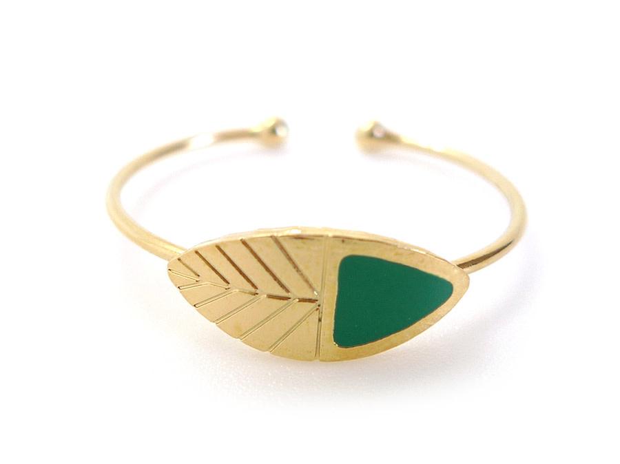 Nadja Carlotti Silver adjustable ring Leaf  - Green
