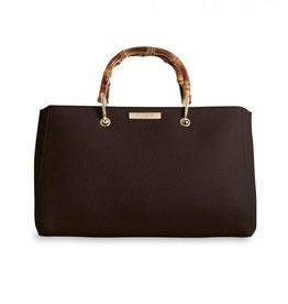 Katie Loxton Katie Loxton grey Avery handbag w bamboo handle - Mocha - 20x33x18 cm