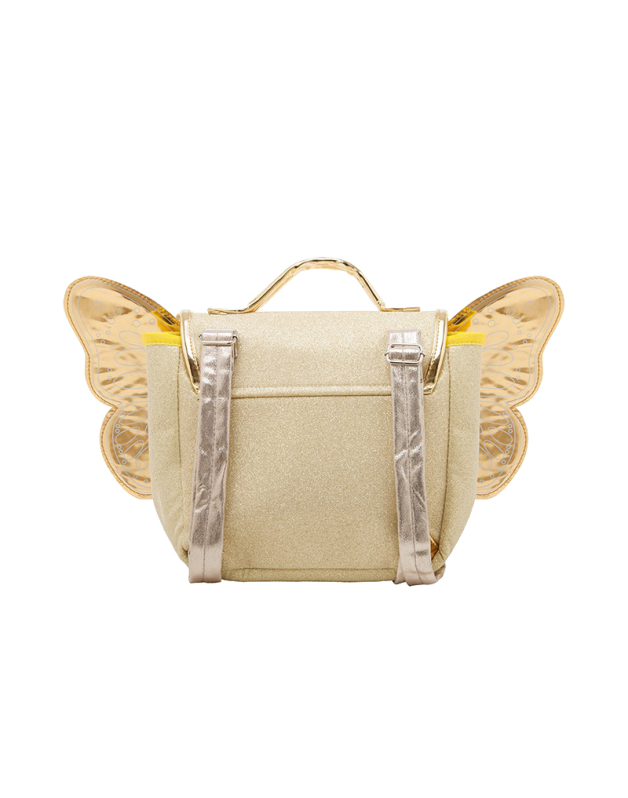 Caramel & cie Gold glitter butterfly bag