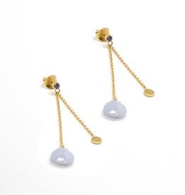 Détail Silver earrings gold plated - Amélie Blue lace agathe (7256)
