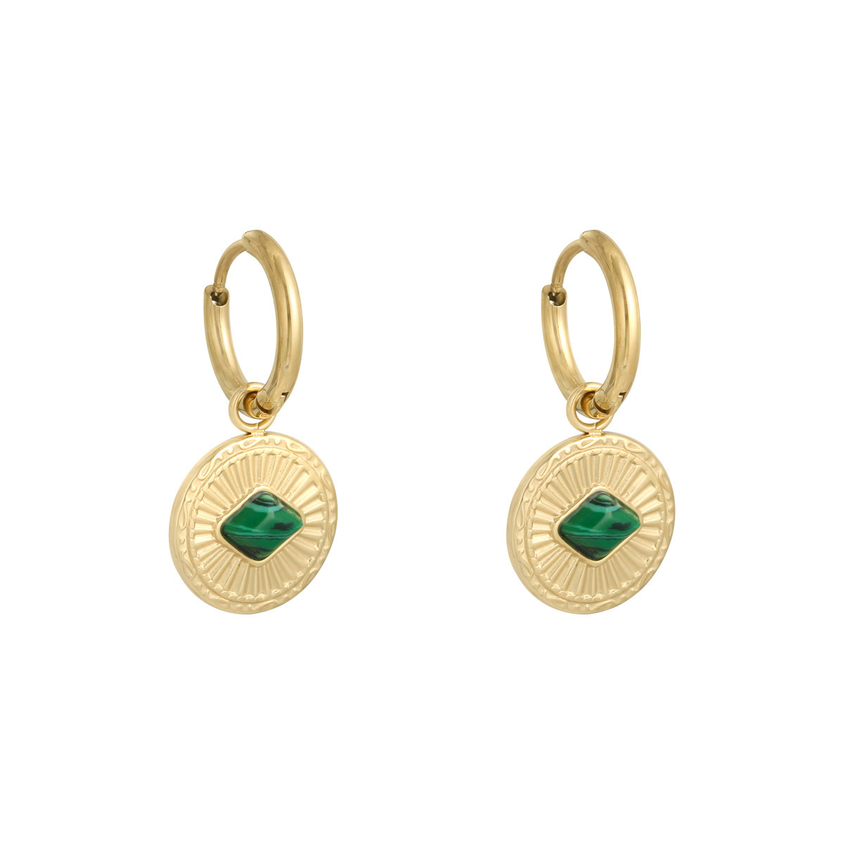 With love Earrings Proud to wear gold - green