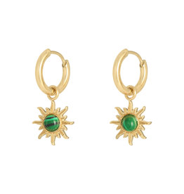 With love Earrings mystic stone - gold green