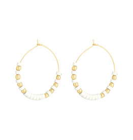 With love Earrings beaded hoops - white - large