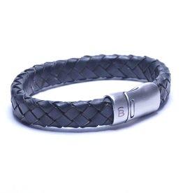 Steel & Barnett Leather bracelet Cornall - black - Size S