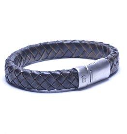 Steel & Barnett Leather bracelet Cornall - vintage black - Size M