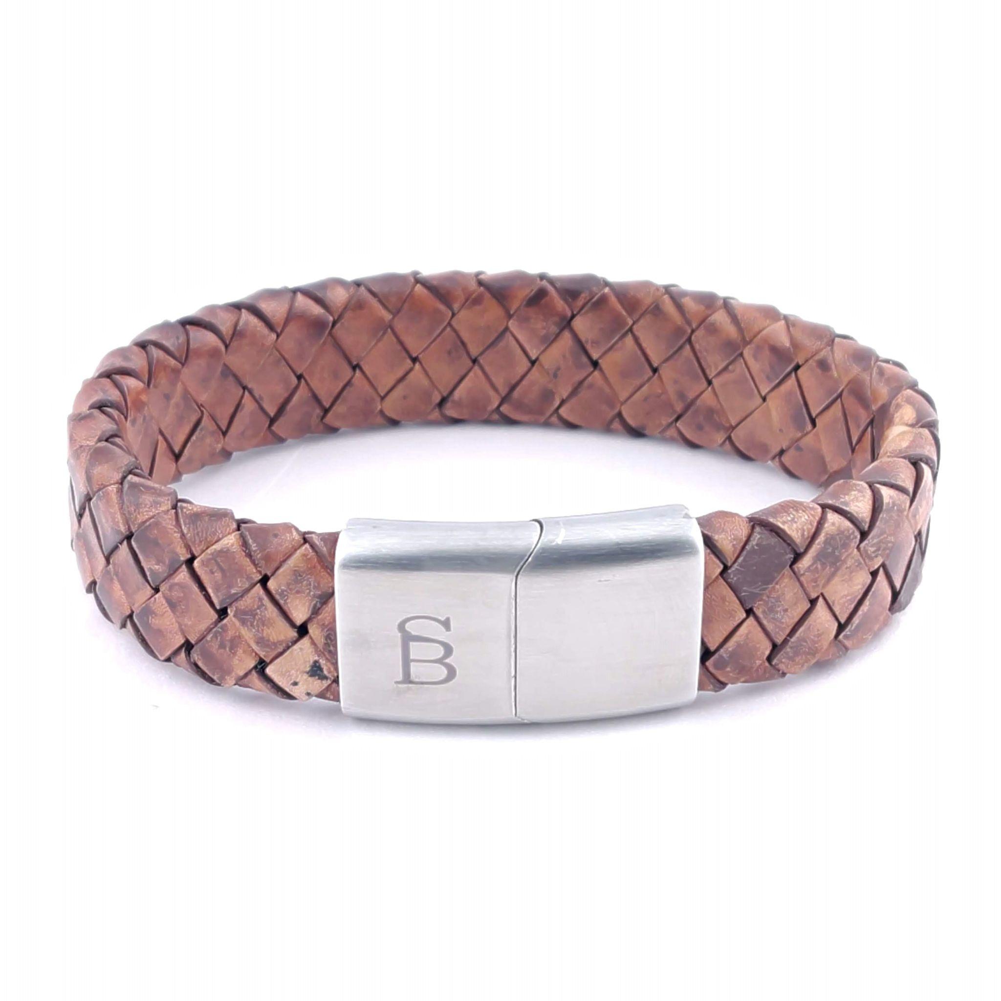 Steel & Barnett Leather bracelet Preston - Caramel - Size M