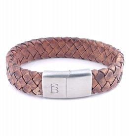 Steel & Barnett Leather bracelet Preston - Caramel - Size S