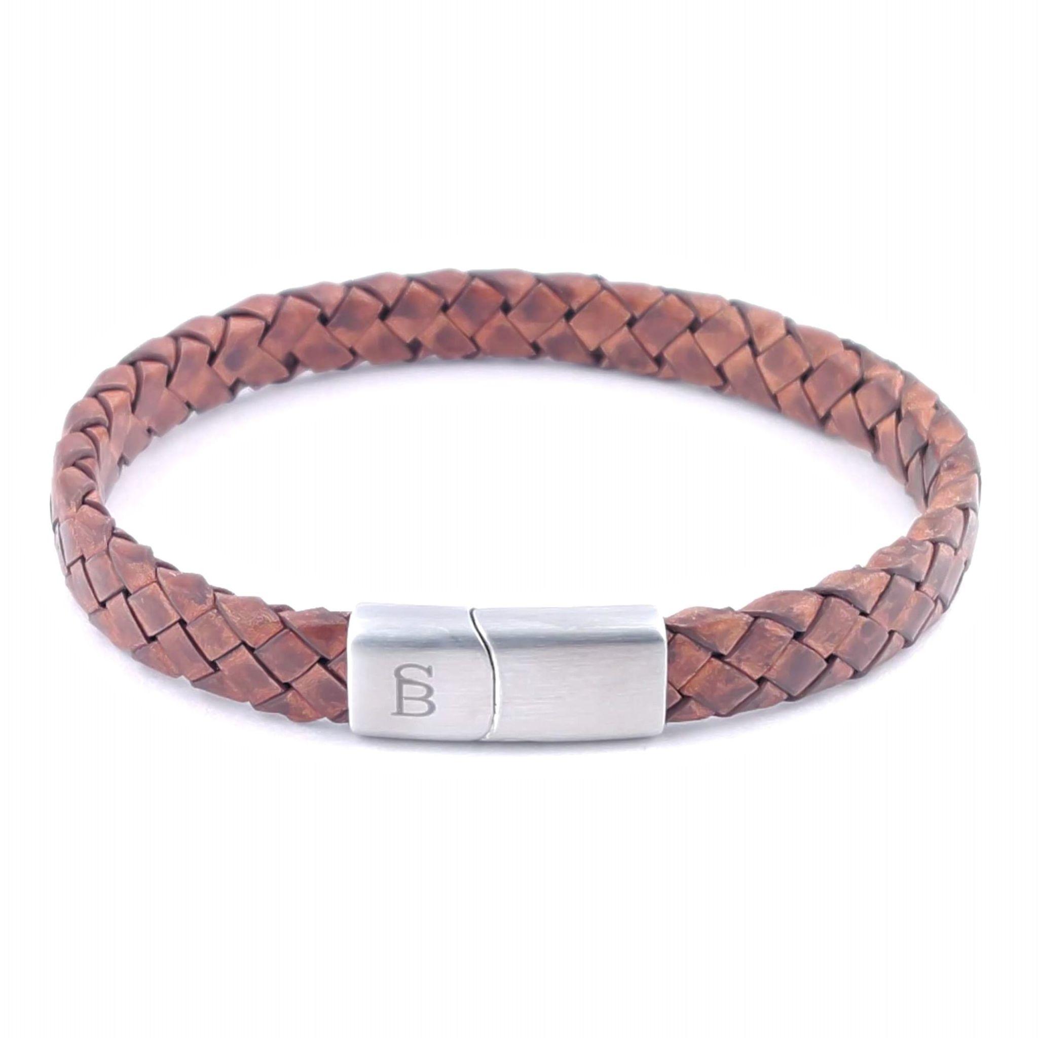 Steel & Barnett Leather bracelet Riley - Caramel - Size S
