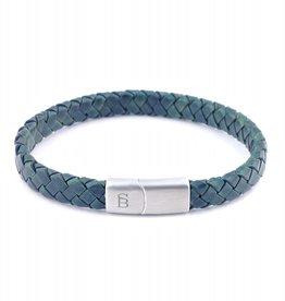 Steel & Barnett Leather bracelet Riley - Dark green - Size M