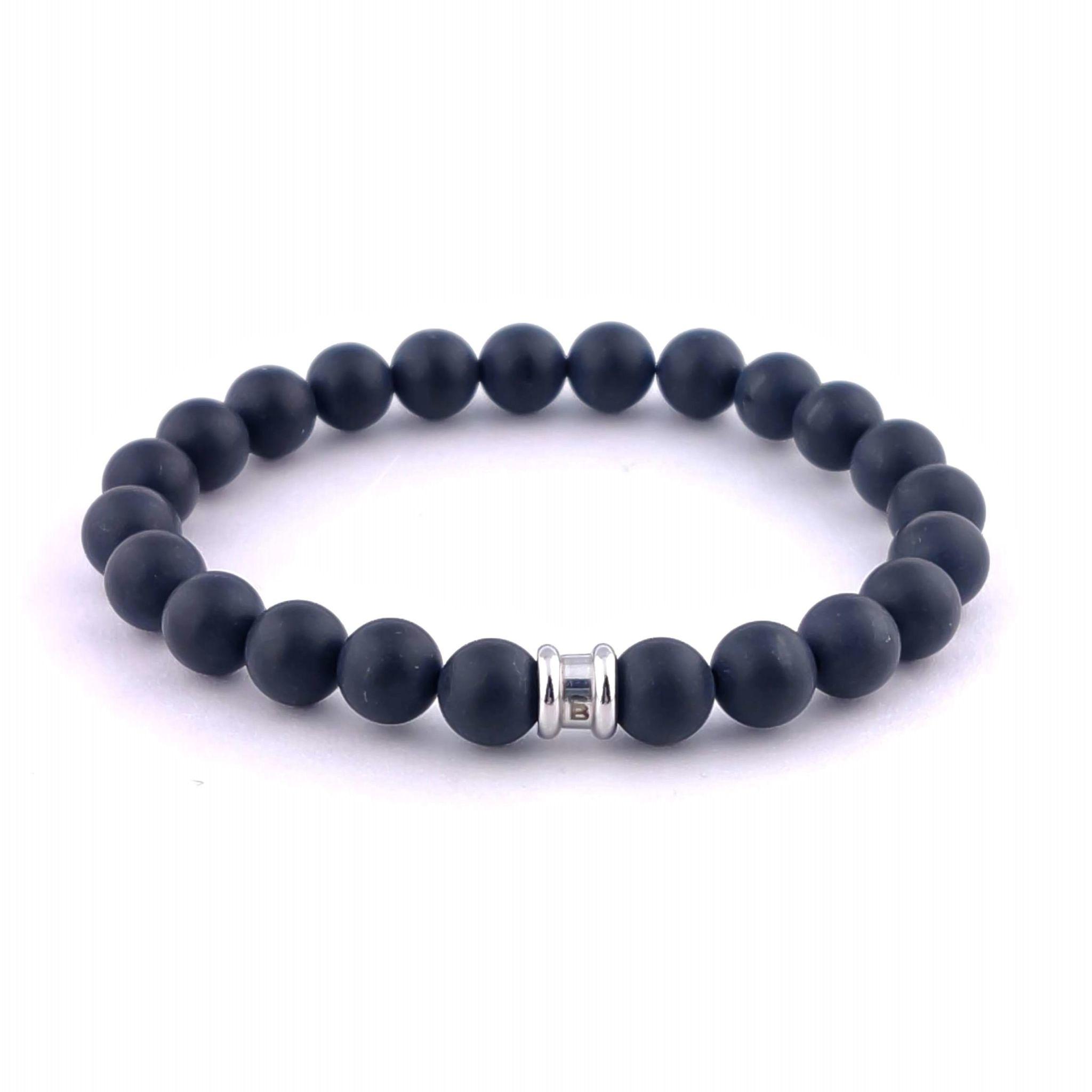 Steel & Barnett Stones bracelet basic - Matt Black - Size M