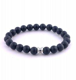 Steel & Barnett Stones bracelet basic - Matt Black - Size S