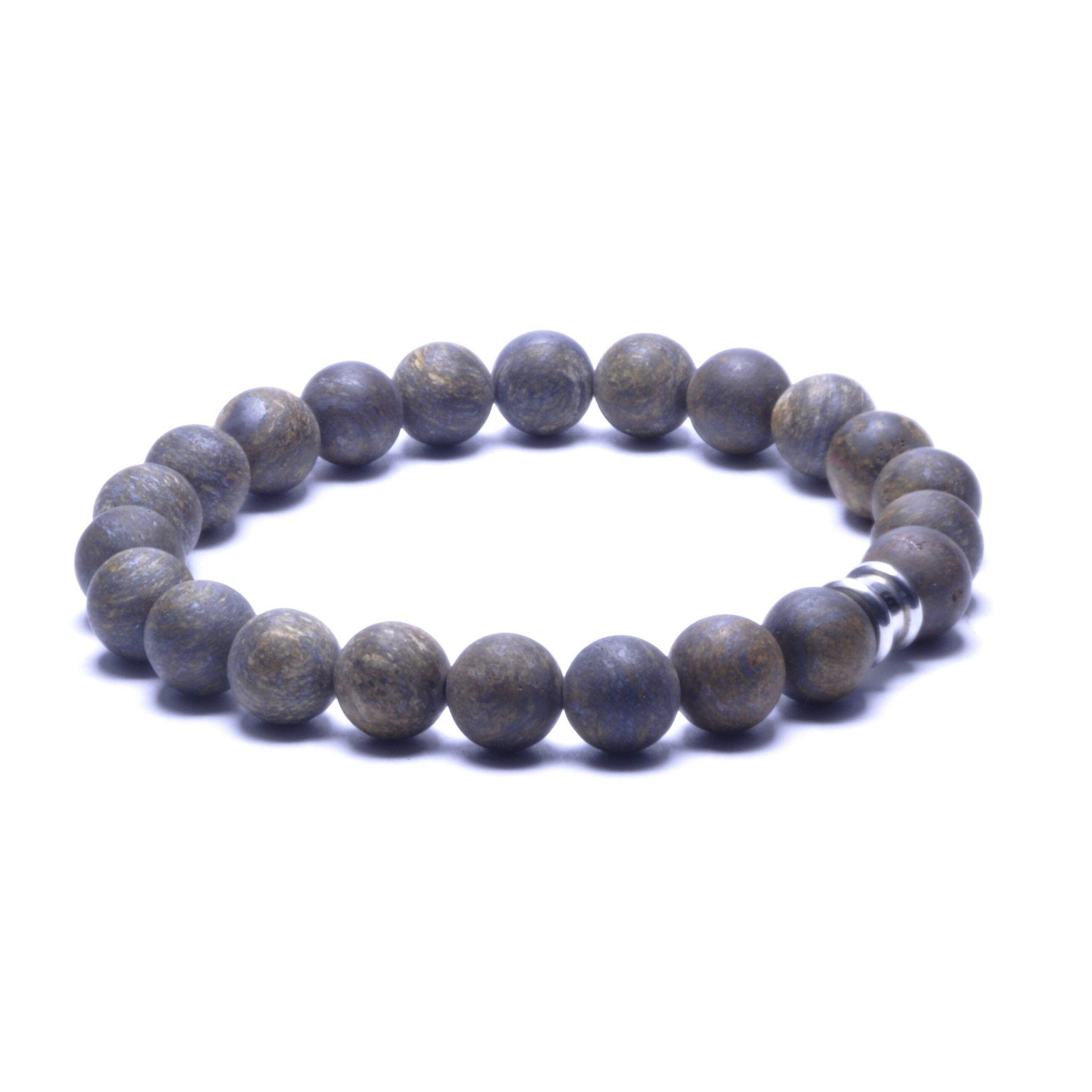 Steel & Barnett Stones bracelet basic - Matt bronzite - Size M