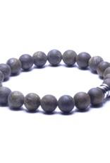 Steel & Barnett Stones bracelet basic - Matt bronzite - Size S