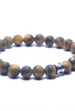 Steel & Barnett Stones bracelet basic - Matt Tiger - Size M