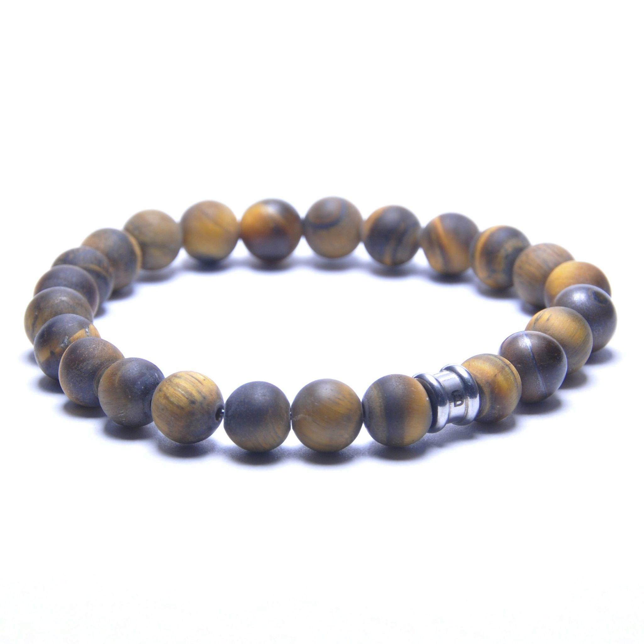 Steel & Barnett Stones bracelet basic - Matt Tiger - Size S